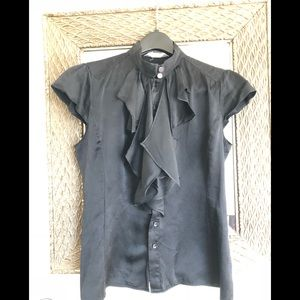 Unique black blouse with capped short sleeves